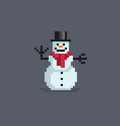 pixel art snowman in hat vector image vector image