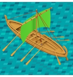 Sailing boat isometric vector image