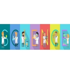 Science Conceptual Banner Human Characters vector image
