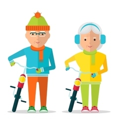 seniors couple in warm clothes vector image vector image