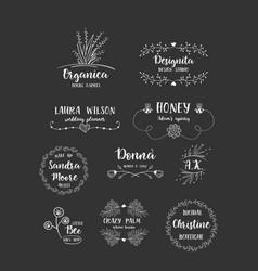 set of handdrawn floral logos vector image