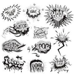 Set of monochrome comics icons vector