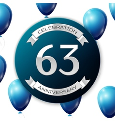 Silver number sixty three years anniversary vector