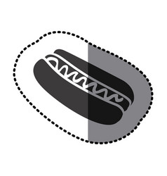 Sticker shading monochrome hot dog with sauce icon vector