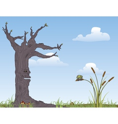 Tree and Frog vector image vector image