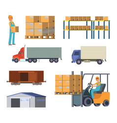 warehouse and logistics processes worker with vector image vector image