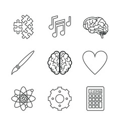 white background with monochrome icons of brain or vector image