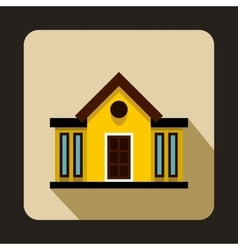 Yellow two storey cootage with narrow windows icon vector