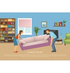 Young Family At Living Room Design vector image