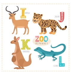 Cute cartoon animals zoo alphabet with funny vector