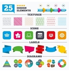 Online shopping icons notebook pc cart buy vector