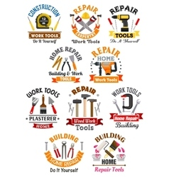 Work tools emblems set for repair construction vector