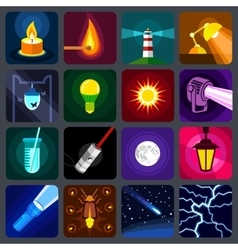 Light source icons set flat style vector image