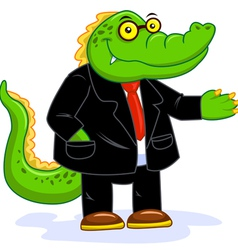 Business crocodile vector