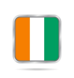 Flag of ivory coast metallic gray square button vector