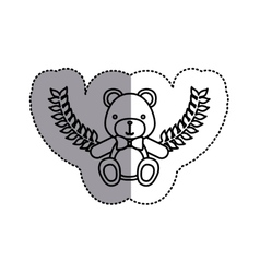 monochrome contour sticker circle with teddy bear vector image