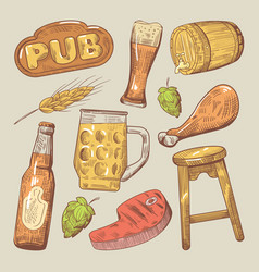 Hand drawn traditional pub beer doodle vector