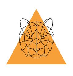 Geometric head tiger wild animal vector