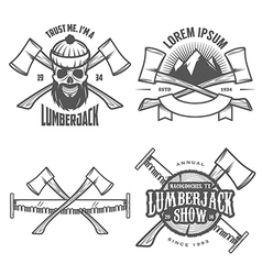 Set of vintage lumberjack design elements vector image