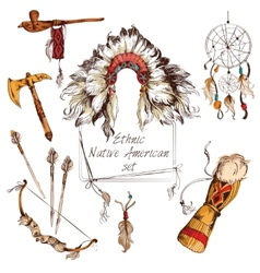 Ethnic native american set colored vector image