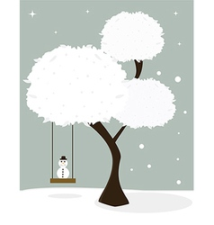 Winter tree with little snowman vector image