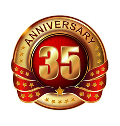 35 anniversary golden label with ribbon vector image vector image
