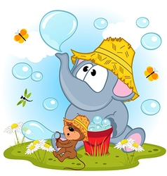 Elephant and mouse inflated bubbles vector