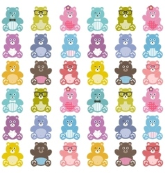Pattern with cute teddy bears vector