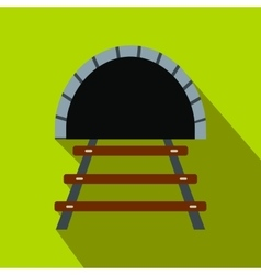 Railway tunnel flat icon vector