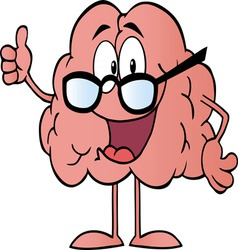 Brain character wearing glasses vector