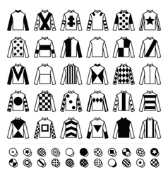 Jockey uniform - jackets silks and hats icons vector