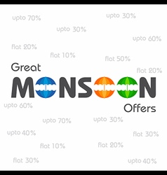 Big monsoon sale banner for different discounts vector