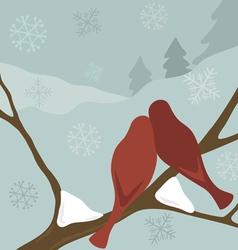 birds in snow vector image