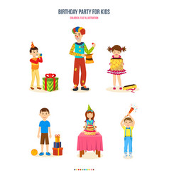 Birthday party for kids gifts cake surprises vector