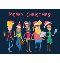 Business team people christmas greeting card vector