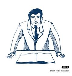 Businessman sketch vector image vector image