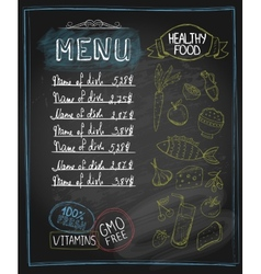 Chalkboard healthy food menu vector