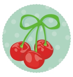cherries wrapped with ribbon vector image vector image