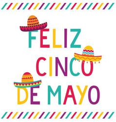 Cinco de mayo card with sombrero hats vector