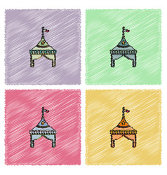 Circus tent stock in hatching style vector