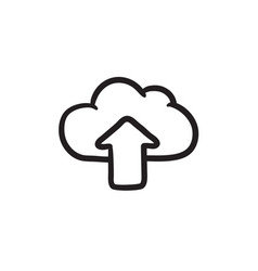 Cloud with arrow up sketch icon vector