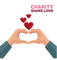 Colorful hands charity share love forming a heart vector