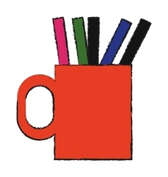 Cup with pencils and pen vector