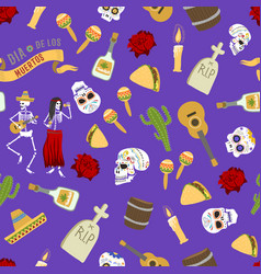 Dia de los muertos day of the dead seamless vector