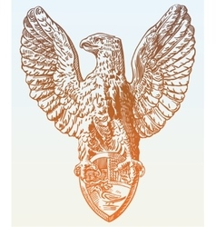 Digital drawing of heraldic sculpture eagle in vector