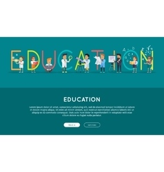 Education conceptual web banner in flat vector