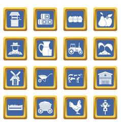 Farm icons set blue vector