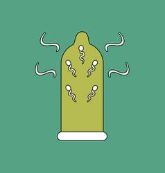Flat icon design collection condom and spermatozoa vector
