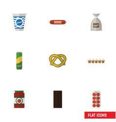 Flat icon eating set of yogurt sack tomato and vector