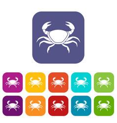 Fresh crab icons set flat vector